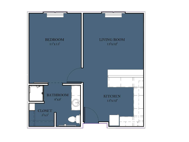 Assisted Living 1 BR Deluxe - E