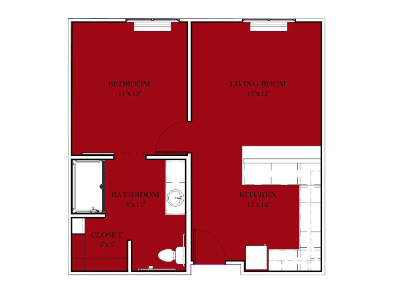 Assisted Living 1BR - Deluxe - F